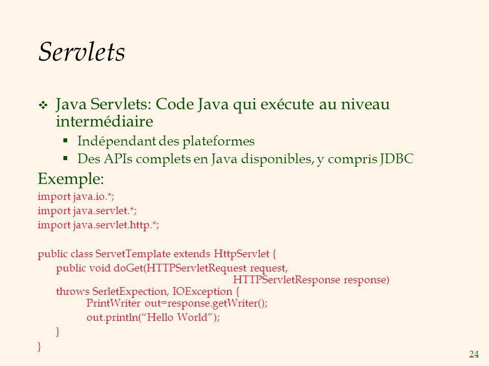 Servlets Java Servlets: Code Java qui exécute au niveau intermédiaire