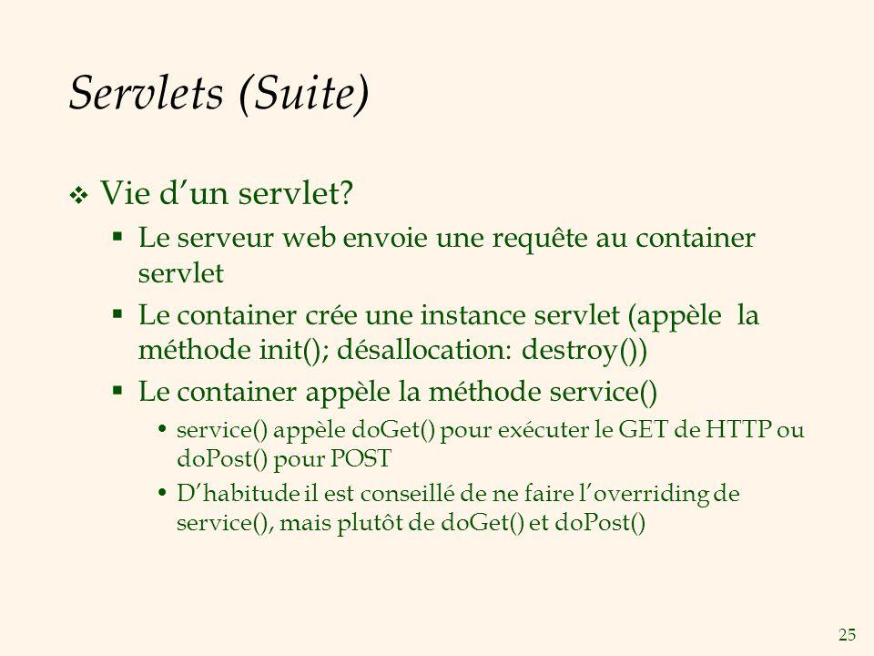 Servlets (Suite) Vie d'un servlet