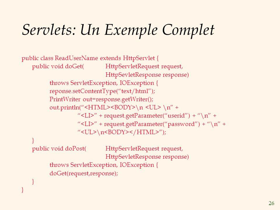 Servlets: Un Exemple Complet