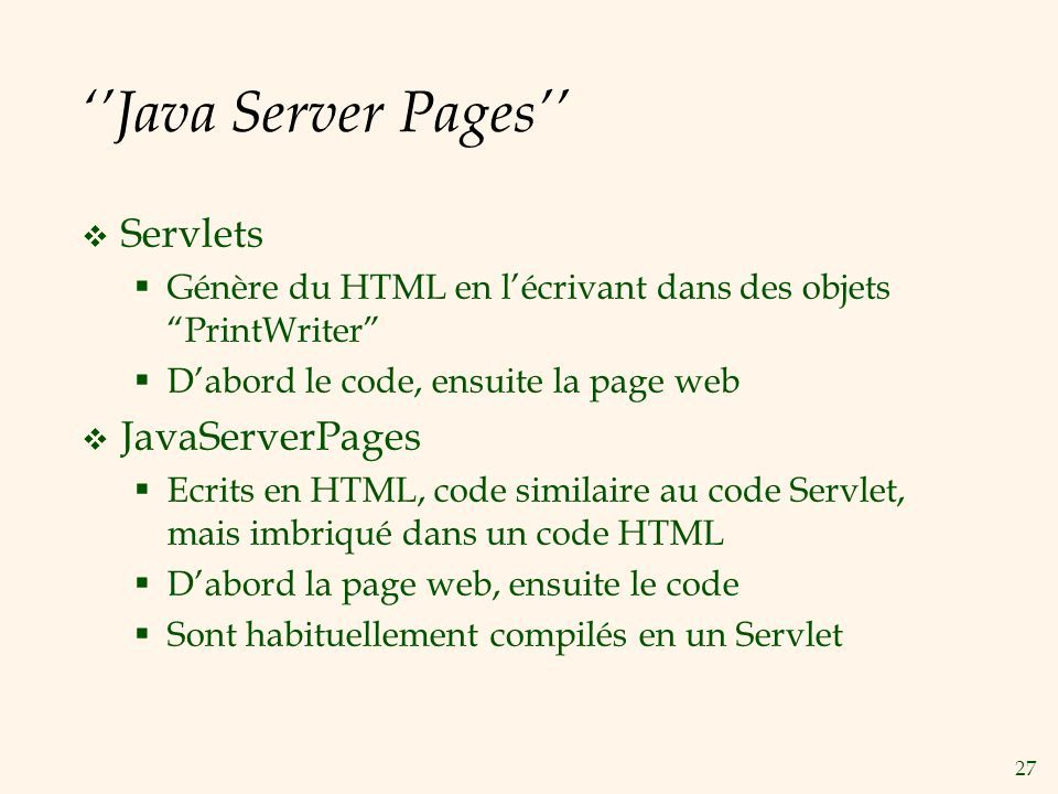 ''Java Server Pages'' Servlets JavaServerPages