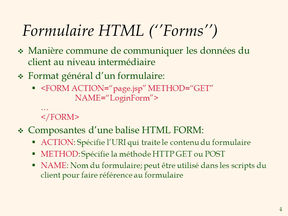 Formulaire HTML (''Forms'')