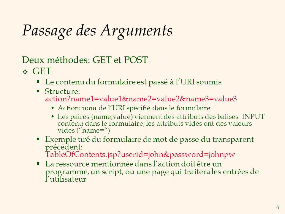 Passage des Arguments Deux méthodes: GET et POST GET