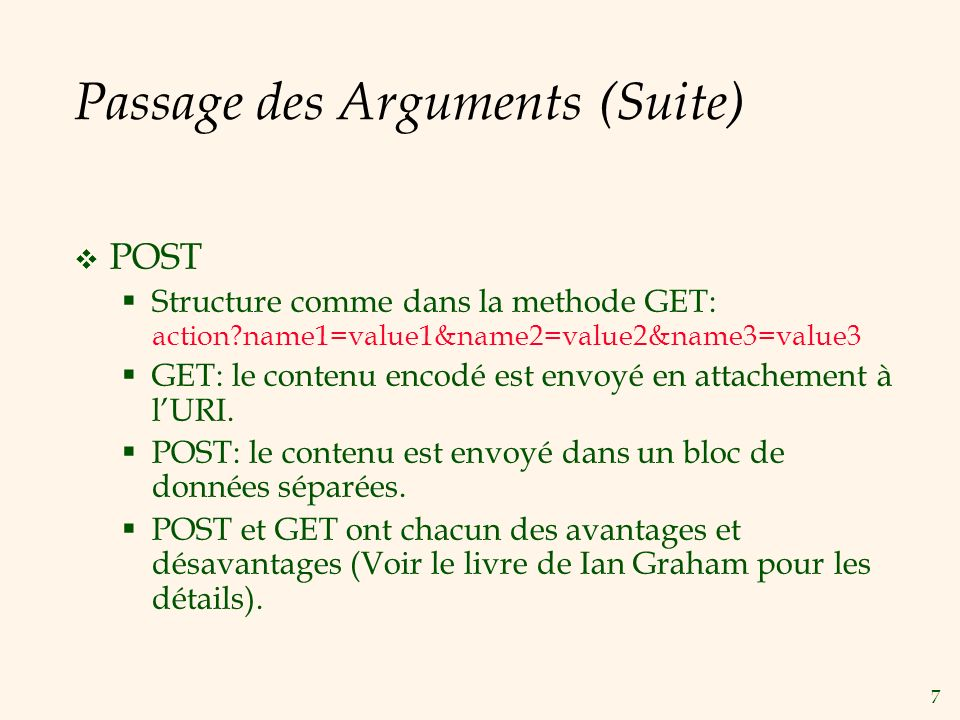 Passage des Arguments (Suite)