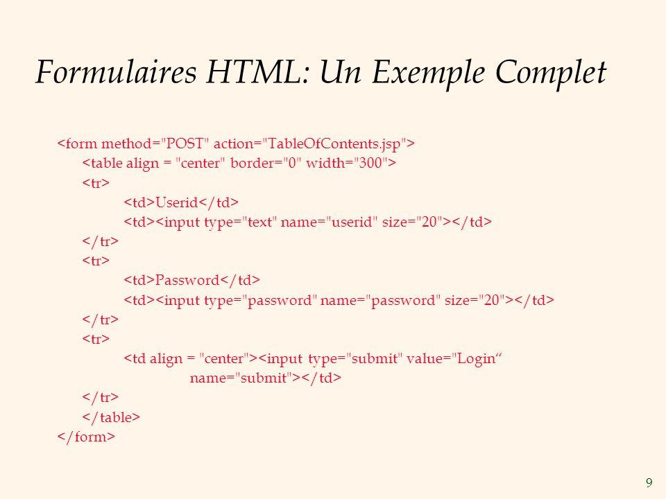Formulaires HTML: Un Exemple Complet