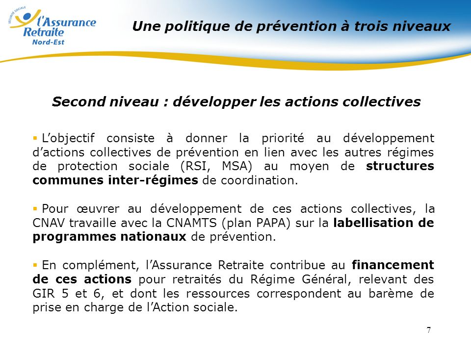 Second niveau : développer les actions collectives