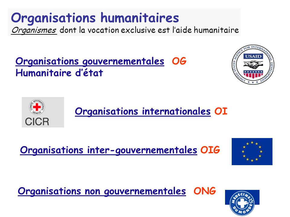 Organisations humanitaires