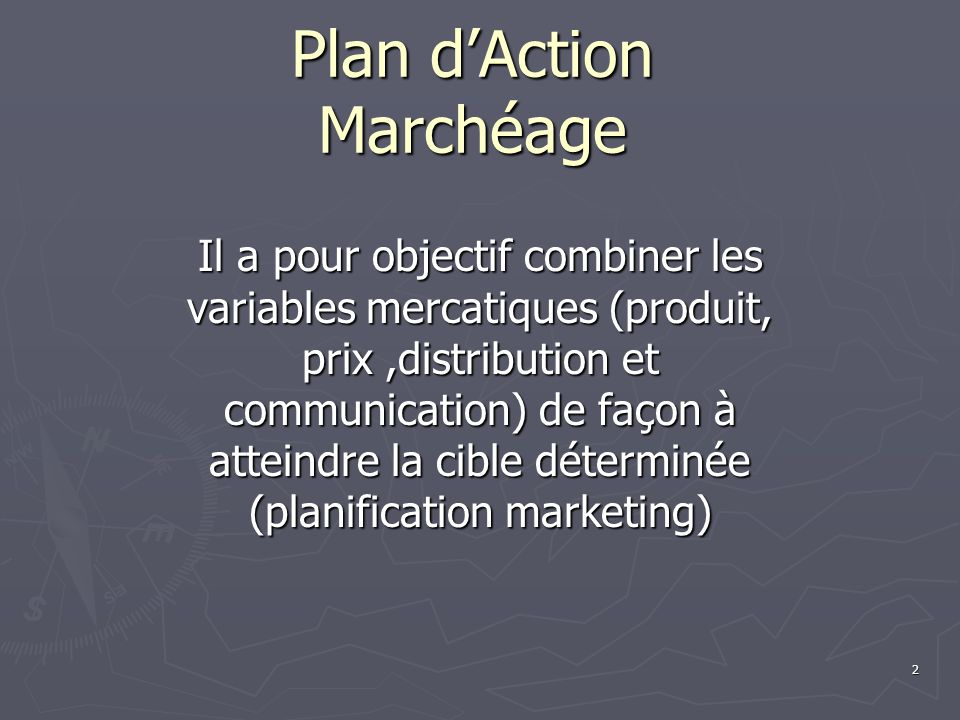 Plan d'Action Marchéage