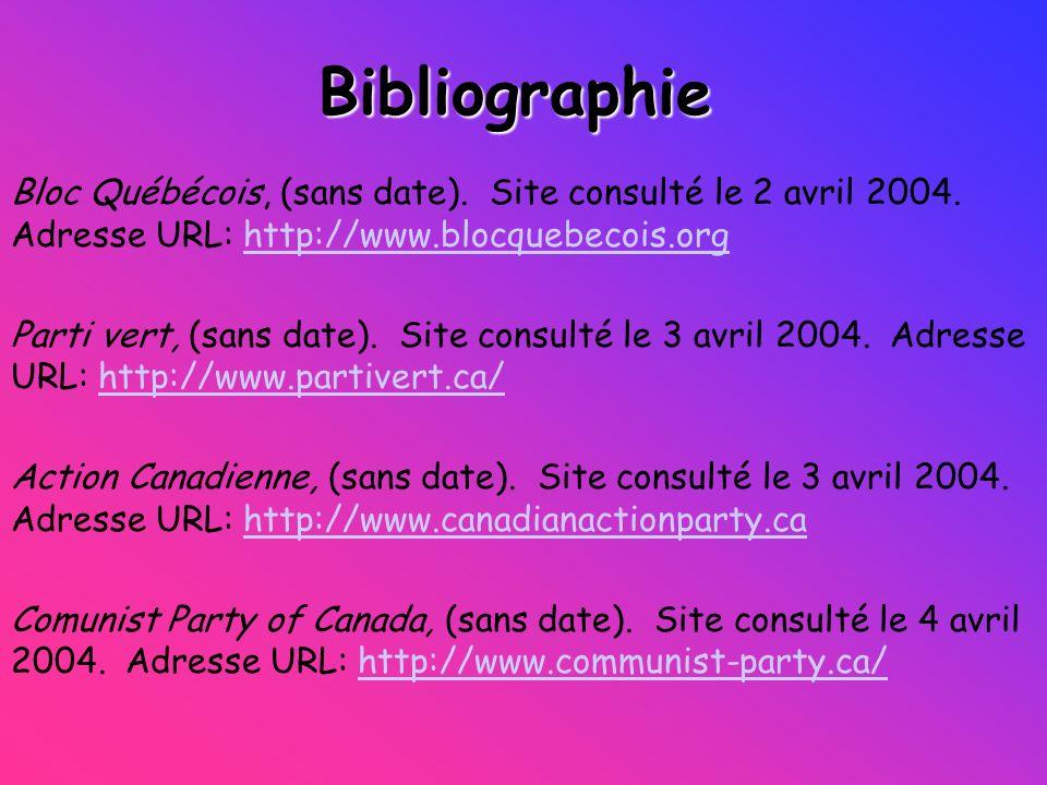 Bibliographie Bloc Québécois, (sans date). Site consulté le 2 avril 2004. Adresse URL: http://www.blocquebecois.org.