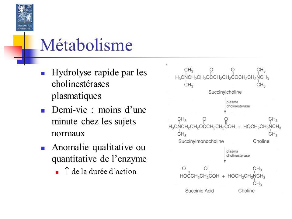 Métabolisme Hydrolyse rapide par les cholinestérases plasmatiques
