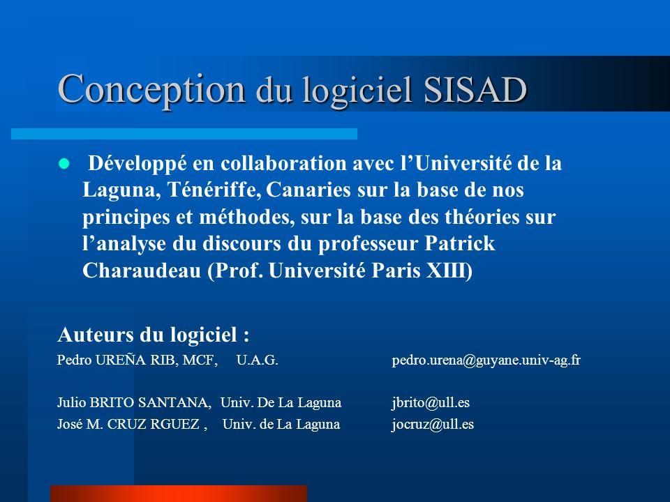 Conception du logiciel SISAD