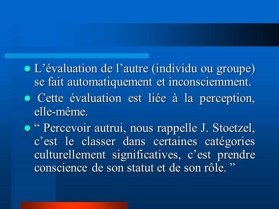 L'évaluation de l'autre (individu ou groupe) se fait automatiquement et inconsciemment.