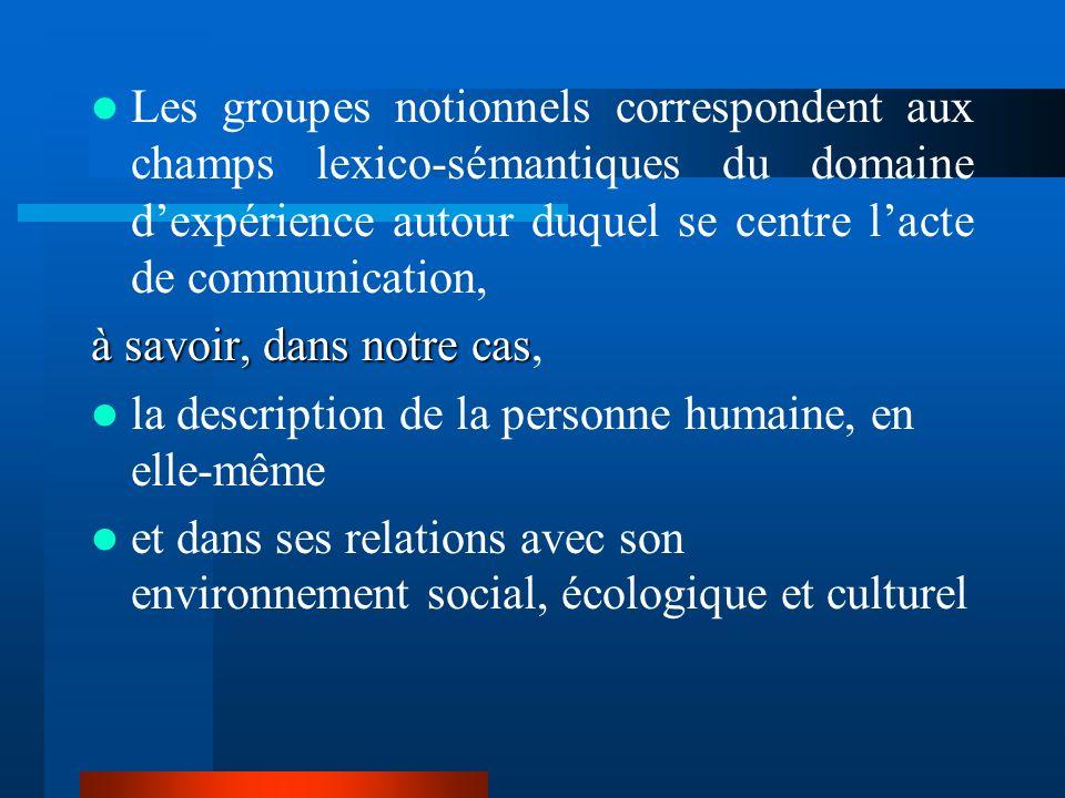 Les groupes notionnels correspondent aux champs lexico-sémantiques du domaine d'expérience autour duquel se centre l'acte de communication,