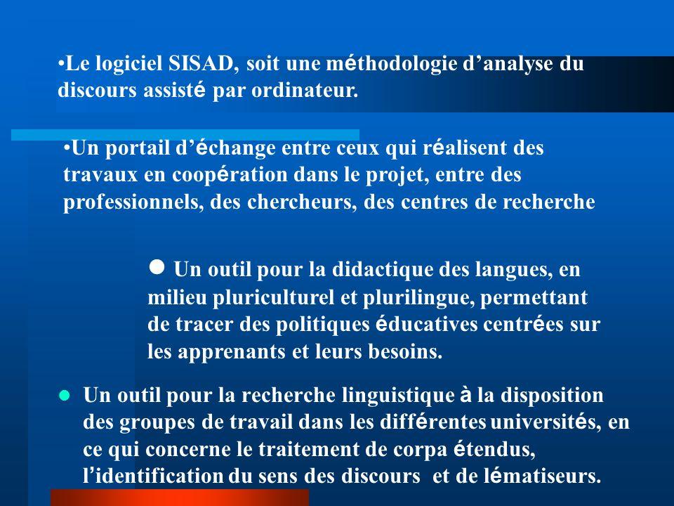 Le logiciel SISAD, soit une méthodologie d'analyse du discours assisté par ordinateur.