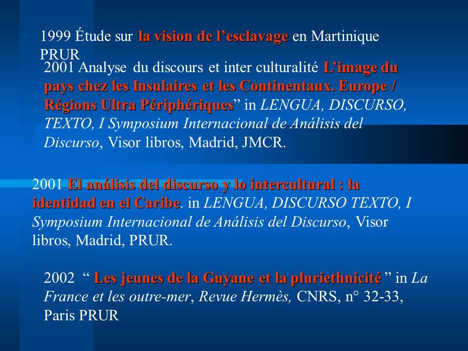 1999 Étude sur la vision de l'esclavage en Martinique PRUR