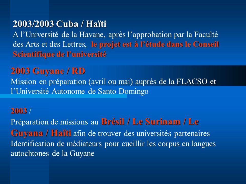 2003/2003 Cuba / Haïti A l'Université de la Havane, après l'approbation par la Faculté des Arts et des Lettres, le projet est à l'étude dans le Conseil Scientifique de l'université