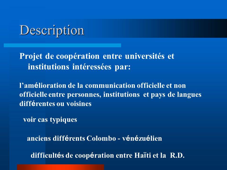 Description Projet de coopération entre universités et institutions intéressées par: