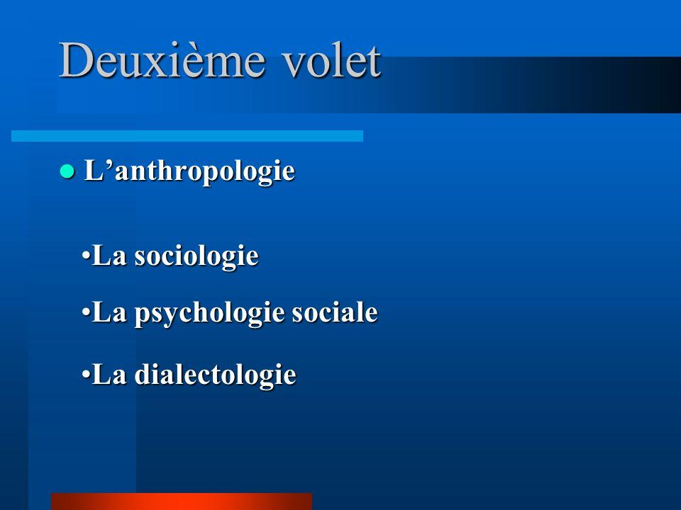 Deuxième volet L'anthropologie La sociologie La psychologie sociale