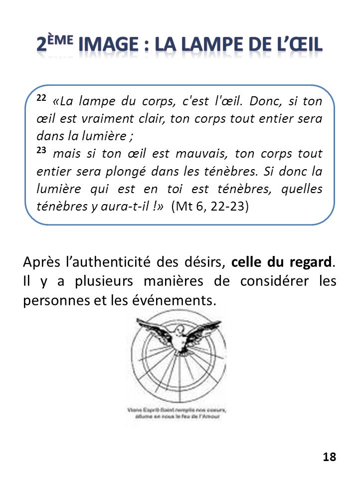 2ème image : La lampe de l'œil