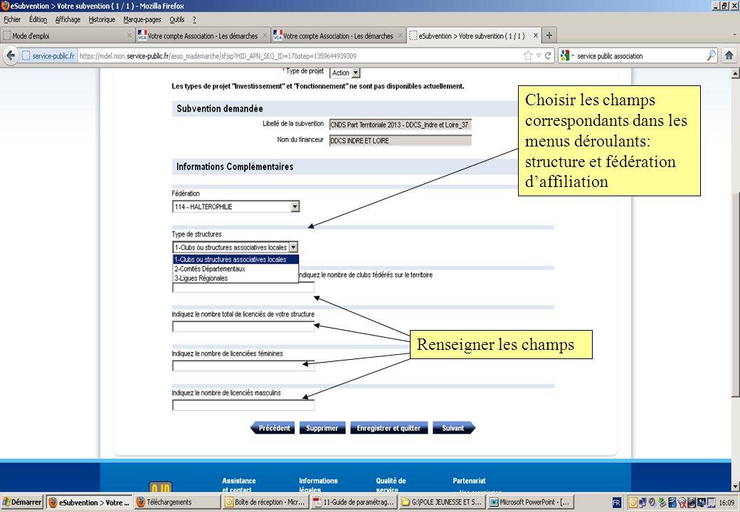 Choisir les champs correspondants dans les menus déroulants: structure et fédération d'affiliation