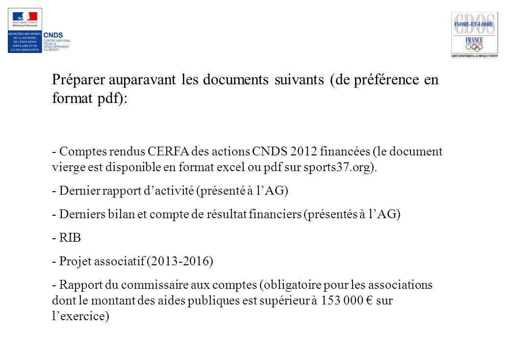 Préparer auparavant les documents suivants (de préférence en format pdf):