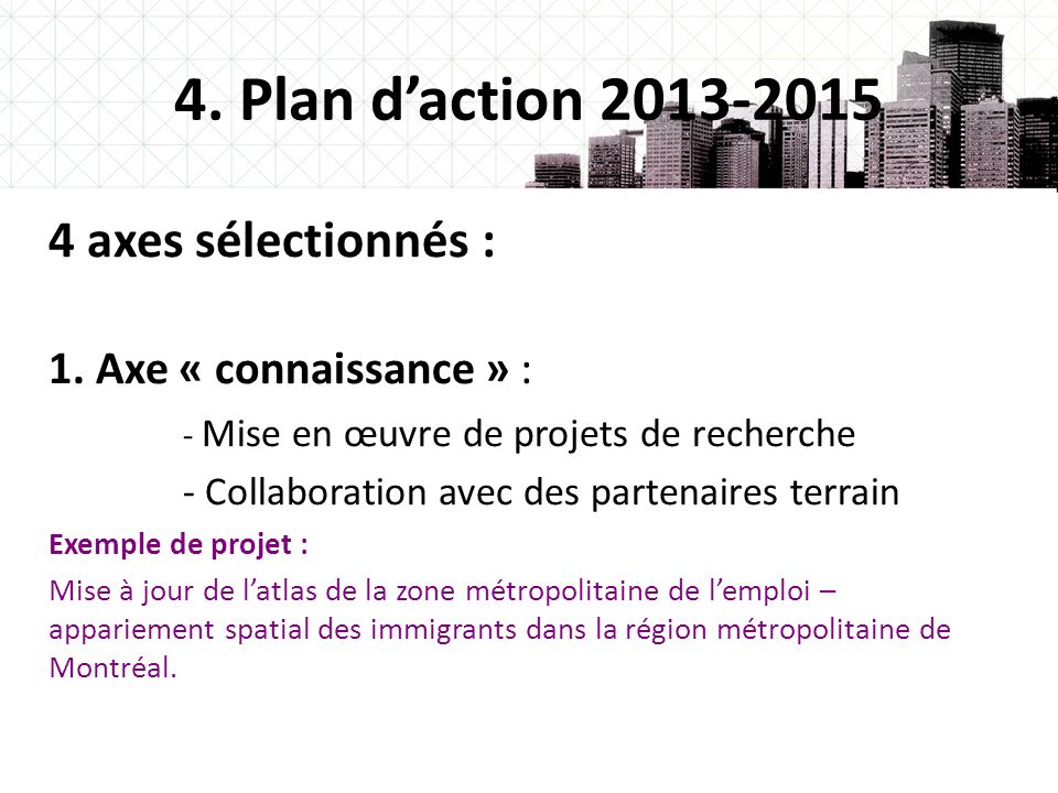 4. Plan d'action 2013-2015 4 axes sélectionnés :