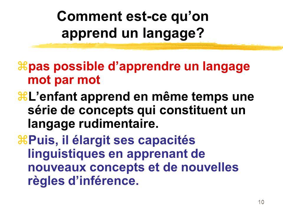 Comment est-ce qu'on apprend un langage