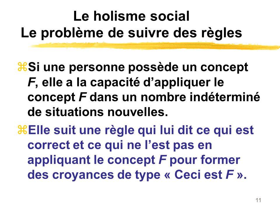 Le holisme social Le problème de suivre des règles