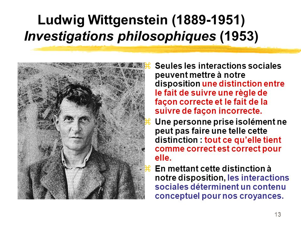 Ludwig Wittgenstein ( ) Investigations philosophiques (1953)