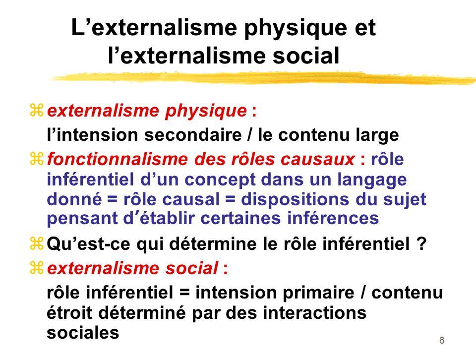 L'externalisme physique et l'externalisme social