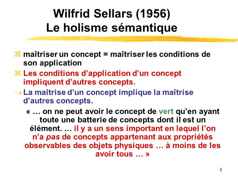 Wilfrid Sellars (1956) Le holisme sémantique