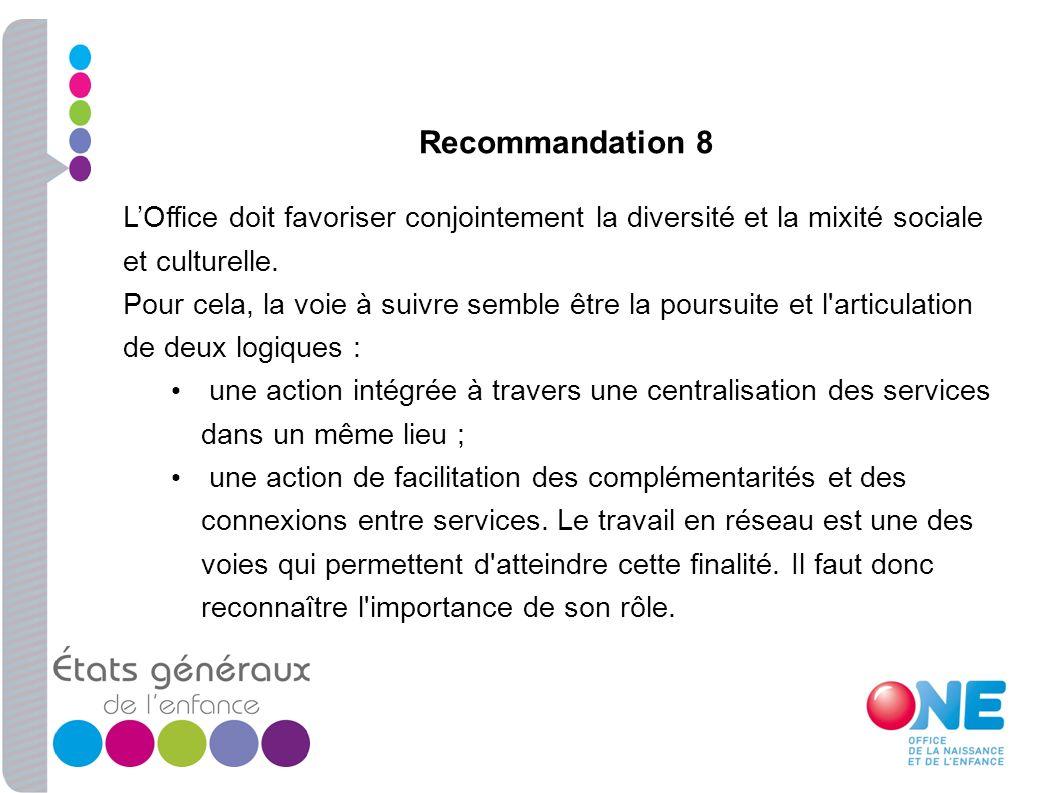 Recommandation 8 L'Office doit favoriser conjointement la diversité et la mixité sociale et culturelle.