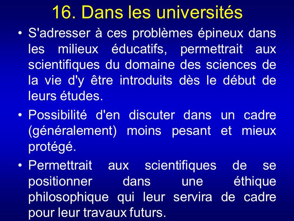 16. Dans les universités
