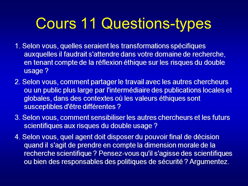 Cours 11 Questions-types