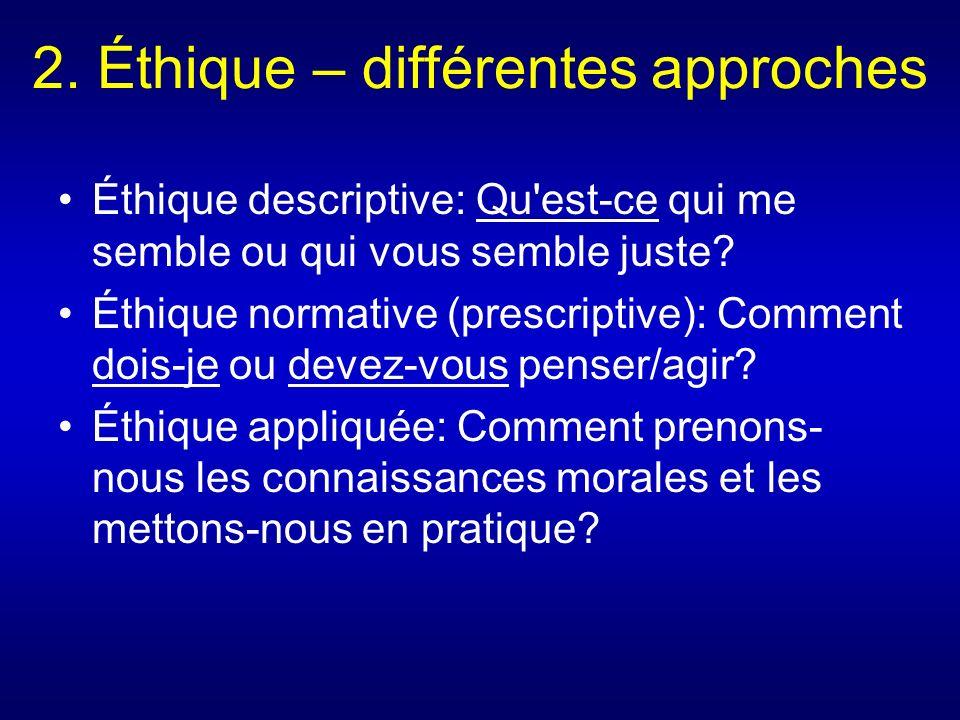 2. Éthique – différentes approches