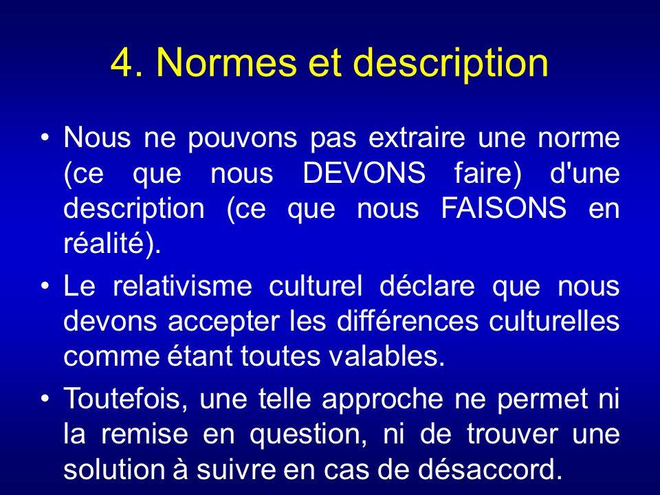 4. Normes et description Nous ne pouvons pas extraire une norme (ce que nous DEVONS faire) d une description (ce que nous FAISONS en réalité).