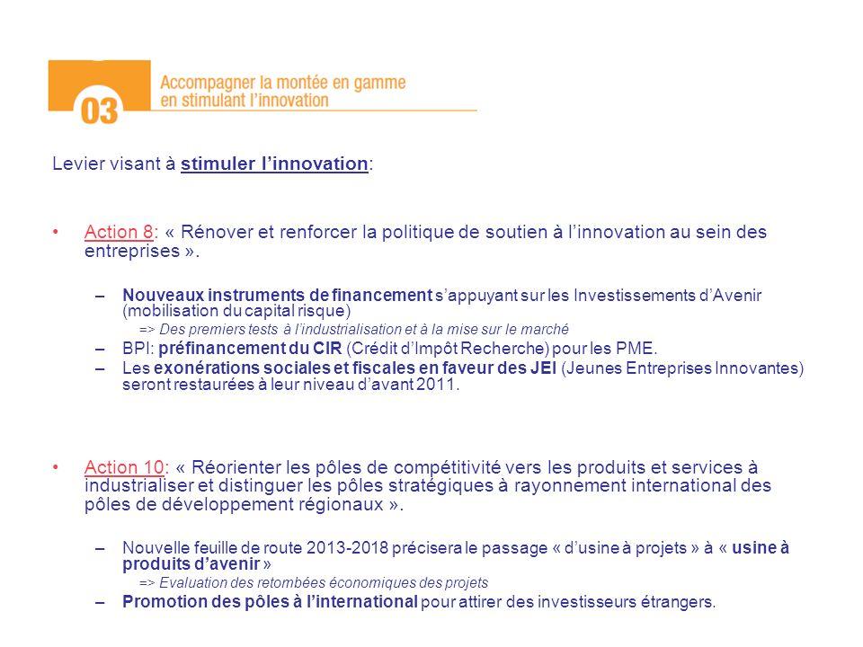 Levier visant à stimuler l'innovation: