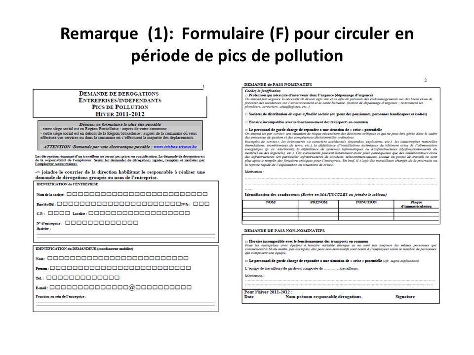 Remarque (1): Formulaire (F) pour circuler en période de pics de pollution