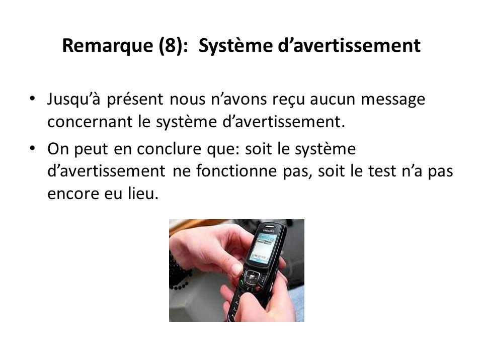 Remarque (8): Système d'avertissement