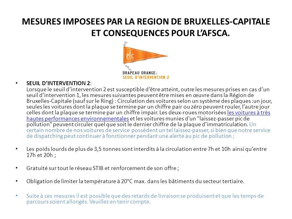 MESURES IMPOSEES PAR LA REGION DE BRUXELLES-CAPITALE
