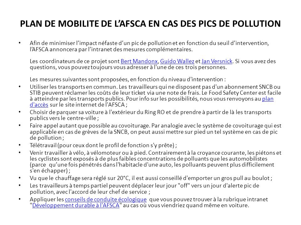 PLAN DE MOBILITE DE L'AFSCA EN CAS DES PICS DE POLLUTION