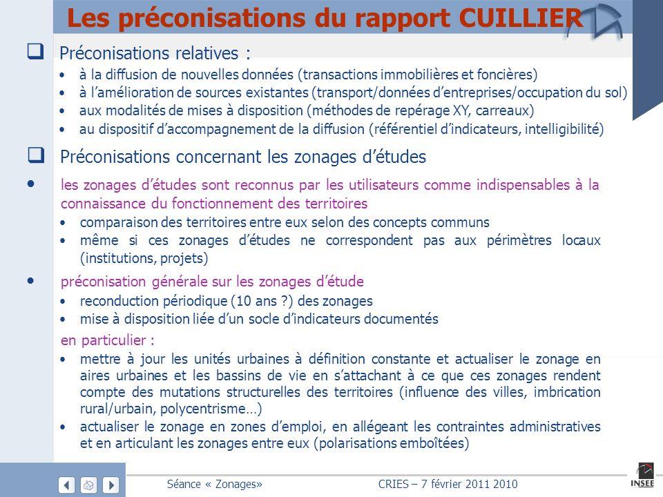 Les préconisations du rapport CUILLIER