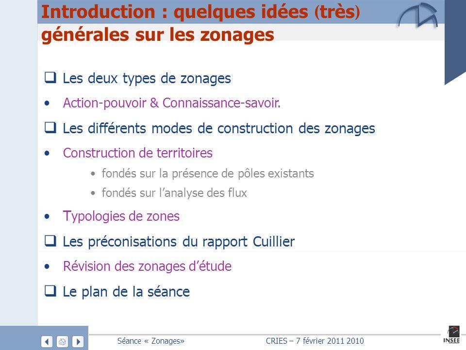 Introduction : quelques idées (très) générales sur les zonages