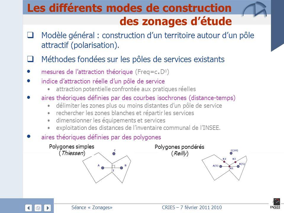 Les différents modes de construction des zonages d'étude