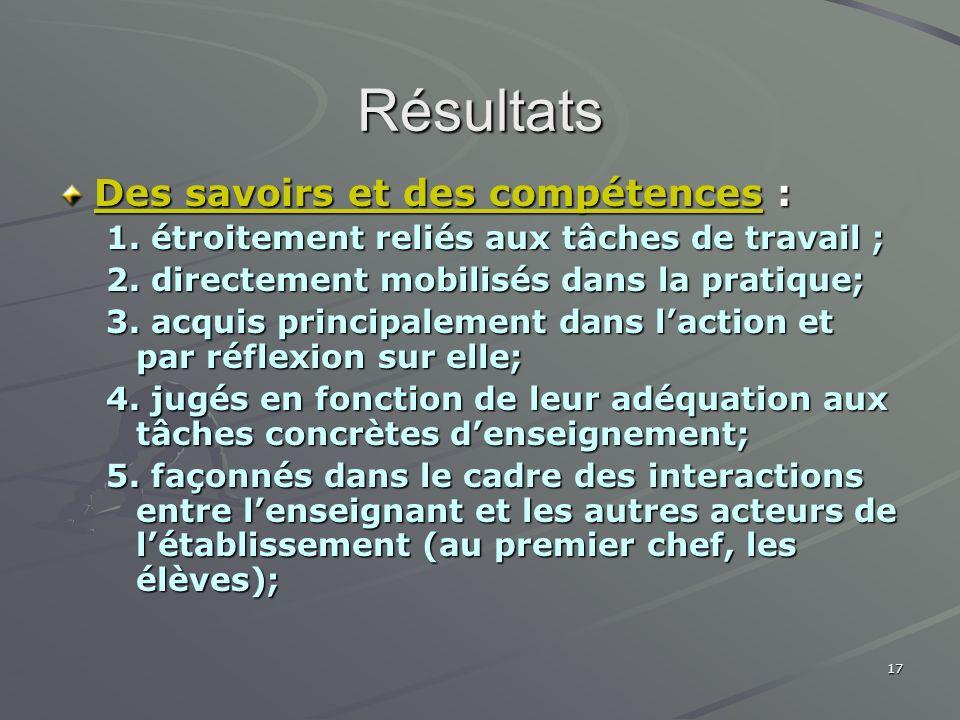 Résultats Des savoirs et des compétences :