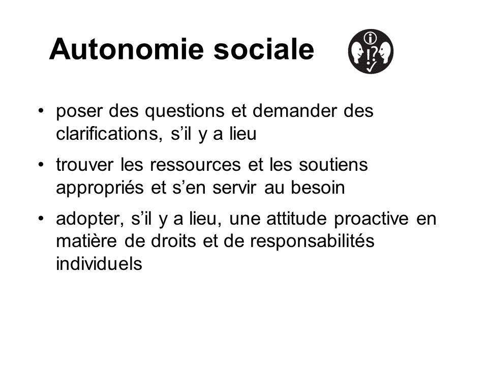 Autonomie sociale poser des questions et demander des clarifications, s'il y a lieu.