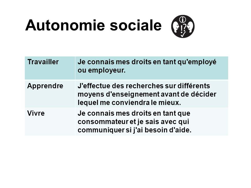 Autonomie sociale Travailler