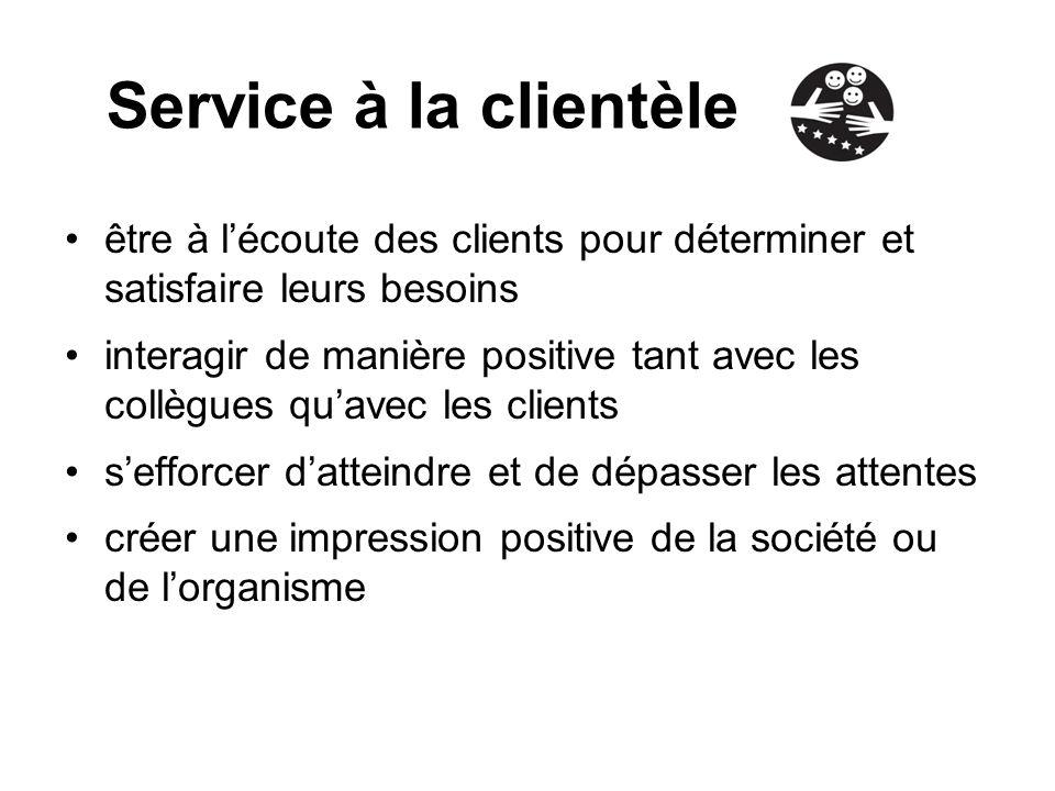 Service à la clientèle être à l'écoute des clients pour déterminer et satisfaire leurs besoins.