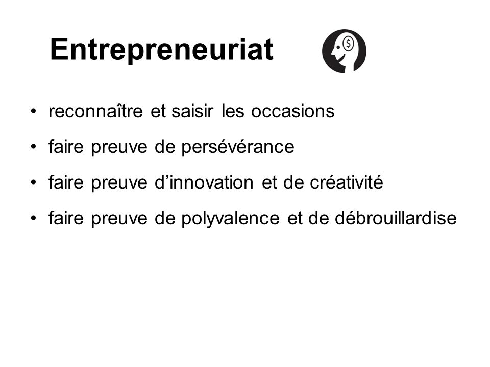 Entrepreneuriat reconnaître et saisir les occasions