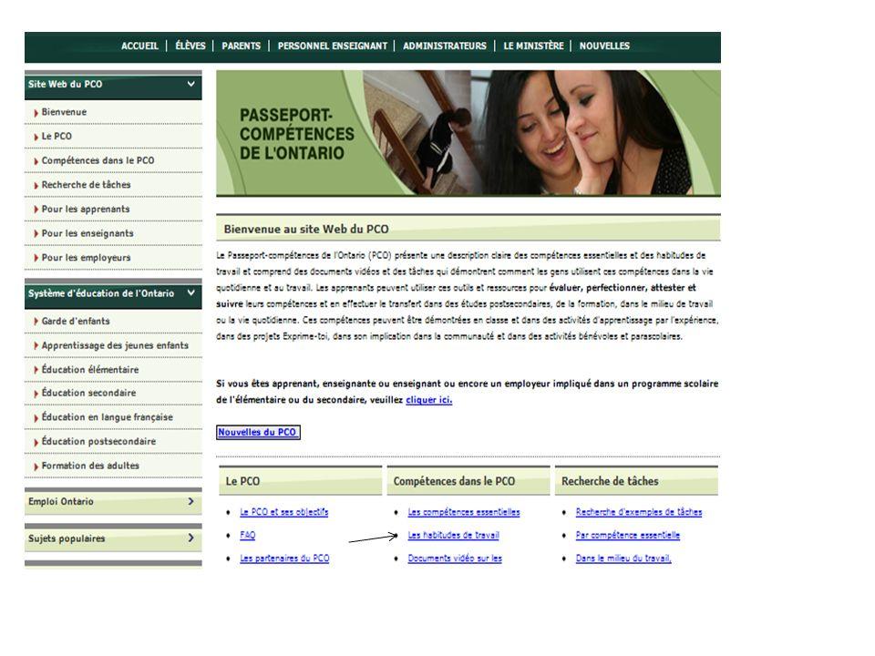 Ceci est la page d'accueil du site Web du PCO
