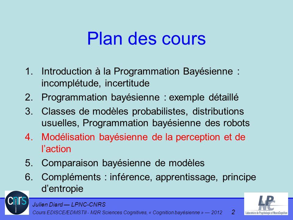 Plan des cours Introduction à la Programmation Bayésienne : incomplétude, incertitude. Programmation bayésienne : exemple détaillé.